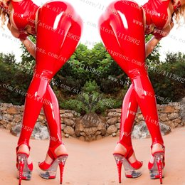 Wholesale Latex Fetish Wholesale - Wholesale- Fetish Sexy Shinny Glass Stretch PVC Vinyl Latex stirrup Legging Pants High Waist Red Latex Legginings Fitness Legging Pants