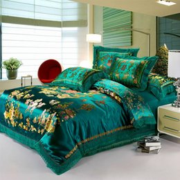 Wholesale Dragon Quilt Set - Wholesale-Luxury Green bedding set 4pc dragon and phoenix silk cotton duvet cover set flat sheet bed quilt linen king queen size