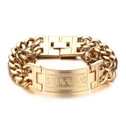 Wholesale Key Beads - Mprainbow Mens Bracelets Stainless Steel Greece Key ID Bracelet for Men Double Cuba Chain Fashion Jewelry Bold and Chunky