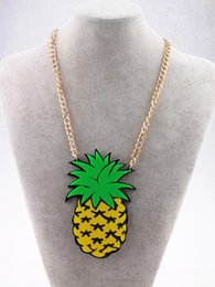 Wholesale Wholesale Fashion Accessories Club - Wholesale-Fashion Metal Gold Chain Big Acrylic Pineapple Pendant Necklace Punk Hip Hop Night Club Jewelry Accessories
