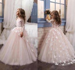 Wholesale Hand Made Flower Jewel Dress - 2018 New Princess Pink Long Sleeves Ball Gown Flower Girl Dress Sweep Train Girls First Communion Dress Girls Lace Wedding Party Dresses