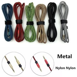 Wholesale Composite Metals - 1.5M 3M Round Unbroken Metal Fabric Braiede Audio Cable Auxiliary AUX Extension 3.5mm Male Stereo For iphone Samsung MP3 Speaker Tablet PC