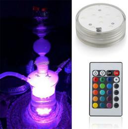 Base iluminada a pilhas on-line-Luz conduzida submergível com controle Remoto para vaso de casa iluminação bateria operado base de luz led iluminação interior para festa de casamento decoratio