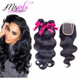 Wholesale Wholesale Unprocessed Weave - Brazilian virgin human hair weave unprocessed hair body wave silky straight natural color 4x4 lace closure with three bundles from Ms Joli