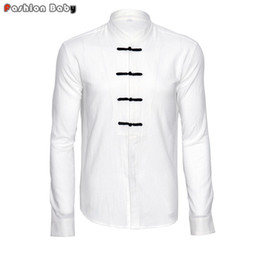 Wholesale Soft Loose Dresses - Wholesale- Vintage Men's Soft Cotton Linen White Cheongsam Casual Shirt Fashion Long Sleeve Chinese Style Loose Shirts Tang Clothing