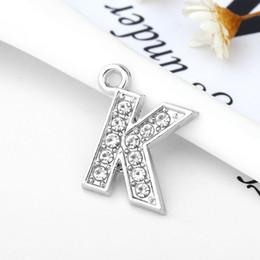 Wholesale Alphabet Charms K - New Fashion Letter K Full Rhinestones Bling Slide Letter DIY Alphabet Charms Fit For Wristband Bracelet Findings Jewelry