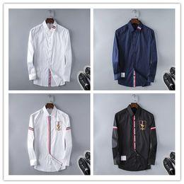Wholesale Mens Striped Dress Shirt - 2017 Brand Men's Business Casual shirt mens long sleeve striped slim fit camisa masculina social male shirts new fashion shirt #1983