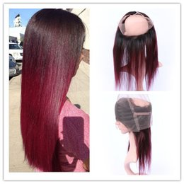 Wholesale 1b 99j - Burgundy Red Ombre 360 Band Lace Frontal Closure With Baby Hair Straight 1B 99J Wine Red Ombre Full Frontal 360 Lace Band Closure