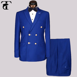 Wholesale Men Double Breasted Suit Slim - Wholesale Slim Fit Mens golden metal buttons Suits Men Double Breasted Azul Hombre Blue Black suit Point Lapel Blazer Masculine