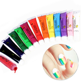 Wholesale Nail Art 3d False Design - Wholesale-New Hot Nail Art Fashion 12pcs LOT UV Gel Design DIY 3D Paint Nail Polish False tips Drawing Health Pigment Nail Gel Set
