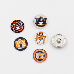 Wholesale Glass Tigers - Mixed Auburn Tigers Snap Buttons 18mm Glass NCAA College Sports Team Snap Charms Fit For Ginger Snap Jewelry