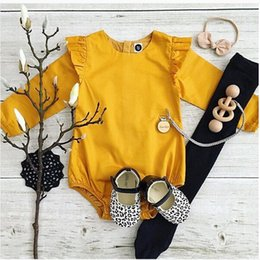 Wholesale Striped Infant Dress - 2017 ins baby spring and autumn rompers baby girl fly sleeve yellow jumpsuits infant toddlers solid zipper romper dress