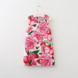 Wholesale Dresses Retro Print Girls - 2017 Summer Autumn Girls Dresses Retro Style Rose Flower Print Sleeveless Fashion Sundress Children Clothing 3-8Y E0424