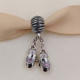 Wholesale Heart Bead Shell - Christmas gifts S925 Sterling Silver Beads Pink Woollen Mittens Dangle Charm Fit Pandora ALE Style sea shells jewelry Bracelets & Necklace