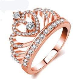 Wholesale Gold Mix Design Rings Jewelry - Hot Designed 925 Sterling Silver Fashion Women Rose Gold Crown Ring Crystal Stone Wedding Jewelry Gift For Female