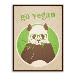 Wholesale Bamboo Posters - Free shipping novelty gift Panda eat bamboo go vegan words pattern home cafe hotel decorative hanging poster photo picture