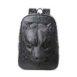 laptop american girl Promo Codes - Wholesale- Cool women backpack shoulder bags 3D tiger backpack for teenage girls high quality pu leather backpack laptop school bags