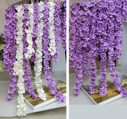 Wholesale Diy Wedding Flower - Artificial Hydrangea Wisteria Flower DIY Simulation Wedding Arch Door Home Wall Hanging Garland For Wedding Garden Decoration