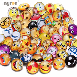 Wholesale Round Hot Plate - Wholesale 50pcs lot Hot Mixed Emoji Theme 18mm Snap Buttons Round Glass DIY Snap Buttons Jewelry For Women Bracelet Ginger Snaps Making