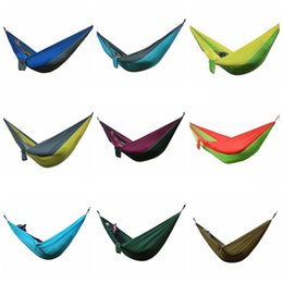 Wholesale Hammock Swing Nylon - Outdoor Hammock 275*140cm Parachute Portable Nylon Safe Parachute Travel Hiking Backpacking Camping Hammock Swing 36 Colors OOA1861
