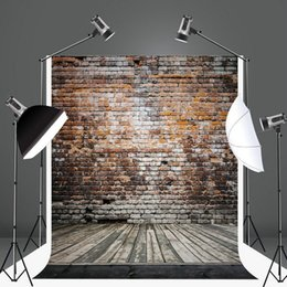 Wholesale Brick Wall Photography Backdrop - 5x6.5ft Brick Wall Photography Backdrop for Children Wooden Floor Photo Background Cotton No Wrinkle Customized Backdrops for Photographers