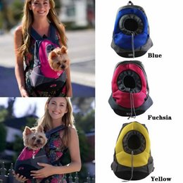 Wholesale carrying backpack - New Dog Cat Pet Carrier Portable Outdoor Travel Backpack Front Bag Mesh Backpack Head Out Double Shoulder Straps Pet Carry Bag
