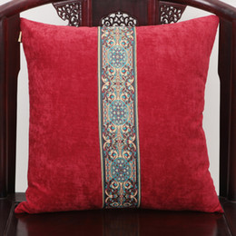 Wholesale Luxury Fabric Sofas - Luxury Patchwork Lace Cushion Pillow Cover for Sofa Seat Chair High End Back Cushion European American Style Velvet Lumbar Pillow Case