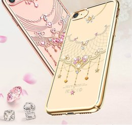 Wholesale Import Iphone Cases - Luxury diamond protection shell Wan yarn series Import TPU material Nonconductive electroplating process 360 ° full package edge Cases