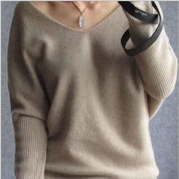 Wholesale Long Pullover Sweaters For Women - New Sweaters autumn winter cashmere sweater for women fashion sexy v-neck sweater loose wool sweater batwing sleeve plus size S-4XL pullover