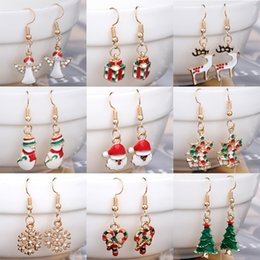 Wholesale Chandelier Decorations Christmas - 21 Styles Christmas Charm Earrings Silver Golden Plated Dangle Rhinestone Drip Paint Christmas Tree Snowflake Bells Deer Jewelry Decoration