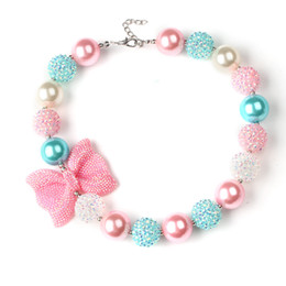 Wholesale Girls Candy Necklace - Hot sell kids jewelry Bowknot Children Beaded Necklace Fresh Candy Color Girls Short Necklace free shipping