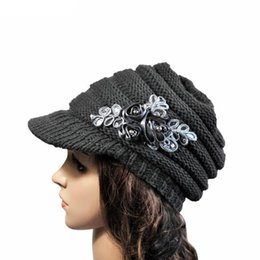 Wholesale Sequin Hats Caps - Wholesale-2016 Korean Style New Autumn Winter Ladies Berets Fashion Brim Sequin Applique Tide Knitted Cap Women Hat Warm Fashion Sep30