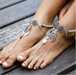 Wholesale Metal Chains For Heart Locks - 60PCS Bohemia Anklets Metal Rouind Anklets Fashion Foot Jewelry Chain Tassel Barefoot Sandals Beach Anklets Bracelet For Women Jewelry F30