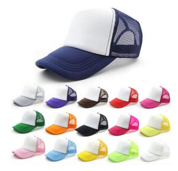 Wholesale Kids Blanks - 14 colors Kids Trucker Cap Adult Mesh Caps Blank Trucker Hats Snapback Hats Acept Custom Made Logo free shipping