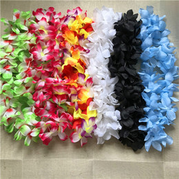 Wholesale Hawaiian Wholesale Flowers - 10Opcs Colourful Artificial Hawaiian Flower Leis Wedding Party Decoration Flower Necklace Garland