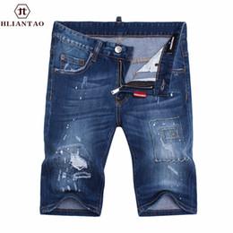 Wholesale Men S Short Trouser Jeans - Wholesale- New Arrival denim men ripped Short jeans hip hop straight slim jeans men denim Short pants male trousers size 28-36 1498