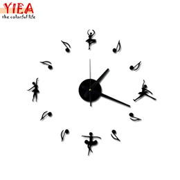 Wholesale Fly Clock - Wholesale-New 3D Music Notes When Combined Flying High-end Diy Ballet Creative Clock Background Wall Clock Watch