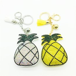 Wholesale Collection Cars - Brand New Scale Tassel Diamonds Pineapple Keychain For Purse Bag Car Party Wedding Gift Collection