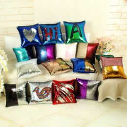 Wholesale Crocheted Mermaid - New Sequin Pillow Case cover Mermaid Pillow Cover Glitter Reversible Sofa Magic Double Reversible Swipe Cushion cover 3002020