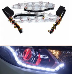 Wholesale Led Strips For Headlights - 2pcs set Universal 16LED Car Flexible White Yellow Switchback LED Strip Light for Headlight Dual Color DRL Turn Signal