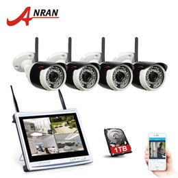 Wholesale Nvr Cameras - Plug Play ANRAN 4CH Wifi CCTV System 12 Inch LCD NVR P2P 720P HD 36IR Night Vision IP Camera Outdoor Security Camera System 1TB HDD Optional
