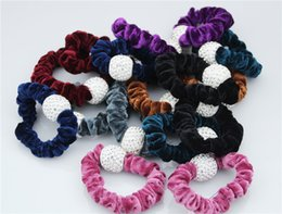 Wholesale hair circle rubber bands rope - Quality women hairbands mix colors Hair accessory jewelry Flannel stretch hair rope Crystal Beads Hair circle