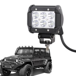 Wholesale Offroad Fog Driving Light Atv - 4Inch 18W Flood Cree LED Spot Light Bar Offroad Pods Lights 4wd LED Driving Lamp Work Light Bulb Fog Lights for Truck Pickup Jeep SUV ATV