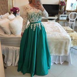 Wholesale Vestidos Largos Fashion - 2017 Elegant Formal Evening Dresses Jewel Neck Lace Top Satin Skirt Long Sleeves Vestidos De Noche Largos Dresses Evening Wear