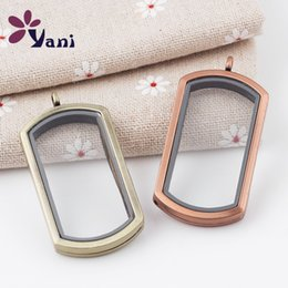 Wholesale Float Frames Wholesale - Can Open Photo Frame Rectangle Smooth DIY Living Memory Locket Two Colors Pendant Glass Floating Lockets Pendants No Chain 4 5tt B