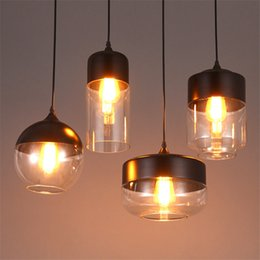 Wholesale Pendant Glass Shade - Wholesale- Modern Industrial Edison Vintage Style 1-Light Pendant Light Kitchen Hanging Lamp Light Fixture with Glass Shade Ceiling Mounted
