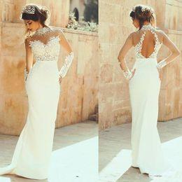 Wholesale Open Back Crystal Wedding Dress - High Neck Long Sleeves Wedding Dresses Mermaid Cheap Sheer Neckline Beads Lace Appliqued BOHO Bridal gowns Open Back Beach Wedding Dress