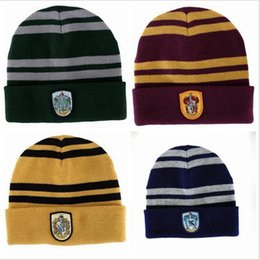 Wholesale Suit Badges - Harry Potter Hat scarf suit Beanie Skull Caps Hats scarves set Cosplay Costume Caps School Striped Badge Hats students 4 Styles For Sale