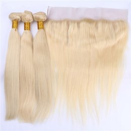 Wholesale Virgin Russian Hair Bundles - #613 Russian Blonde 13x4 Lace Frontal Closure With Bundles 4Pcs Lot Bleach Blonde Virgin Human Hair With Silky Straight Full Lace Frontal