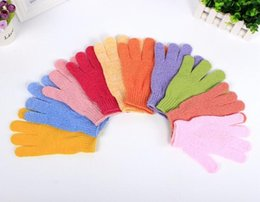 Wholesale Exfoliating Body Gloves - Foaming Bath Gloves Brushes Sponges Ball Scrubbers Exfoliating Moisturizing Spa Bath Gloves Five fingers Convenient comfortable health